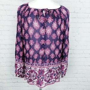 Lucky Brand|Printed Sheer Flowy Peasant Blouse